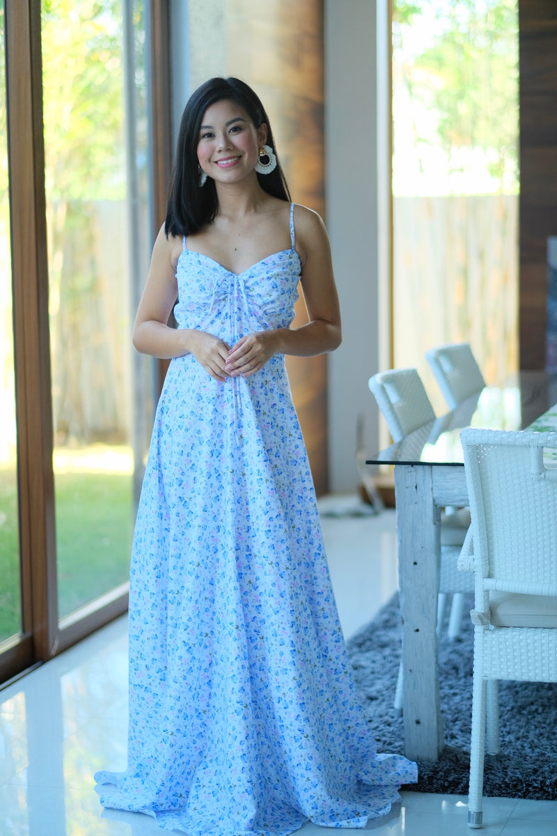 Alexa Dress in Royal Blue Floral with Pink