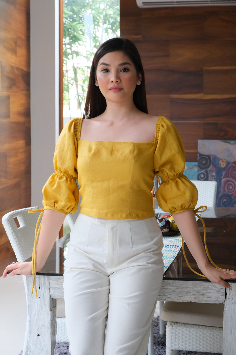 Paris Cropped  Top - Mustard