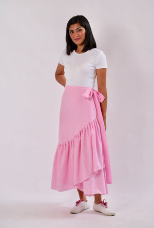 Mila Seersucker Wrap Skirt - Pink