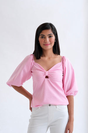 Francesca Top in Regular Length - Light Pink Gingham