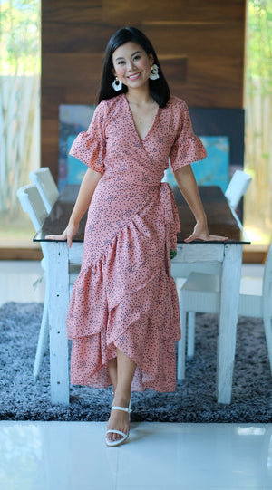 Francine Dress in Dark Salmon with Black Polka