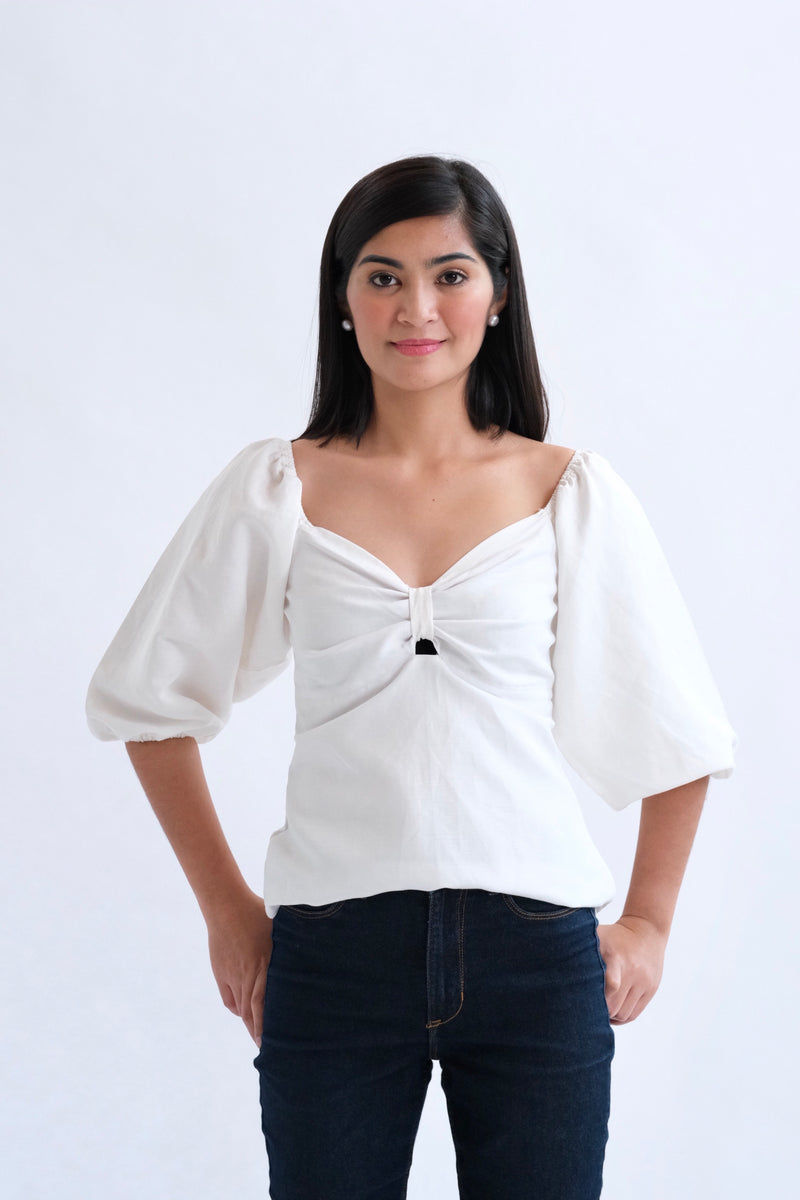 Francesca Top in Regular Length - Plain White
