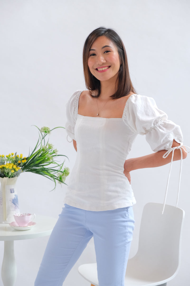 Paris Top in Regular Length - Plain White