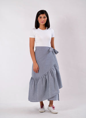 Mila Seersucker Wrap Skirt - Navy Blue