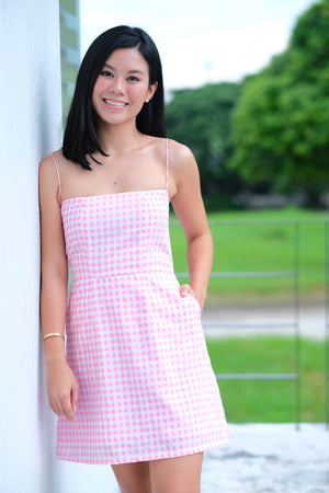 Kelsey Dress in Pink Gingham