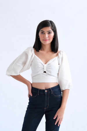 Francesca Cropped Top - Plain White