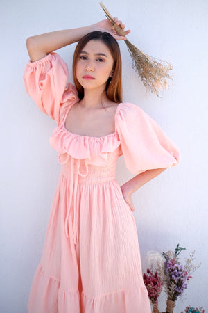 Yda Midi in Peach Perfect