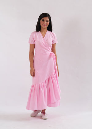 Nicole Seersucker Wrap Dress - Pink