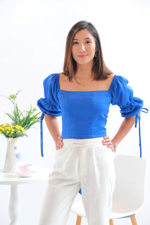 Paris Cropped  Top - Royal Blue