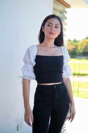 Paris Cropped Top in Black Beauty