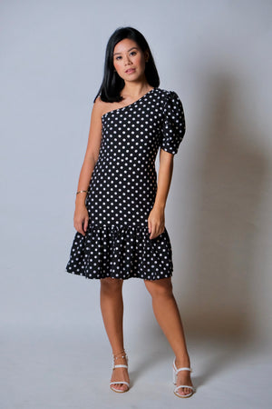 Myra Dress in Black Polka Dot