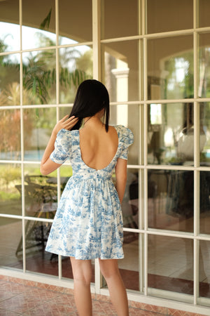 Holly Mini Dress in Quilt Blue