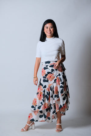 Catleya Skirt in White Floral