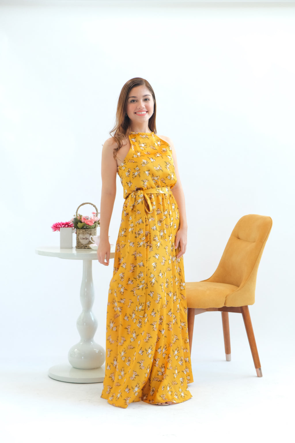 Dahlia Maxi Dress in Crushed Curry