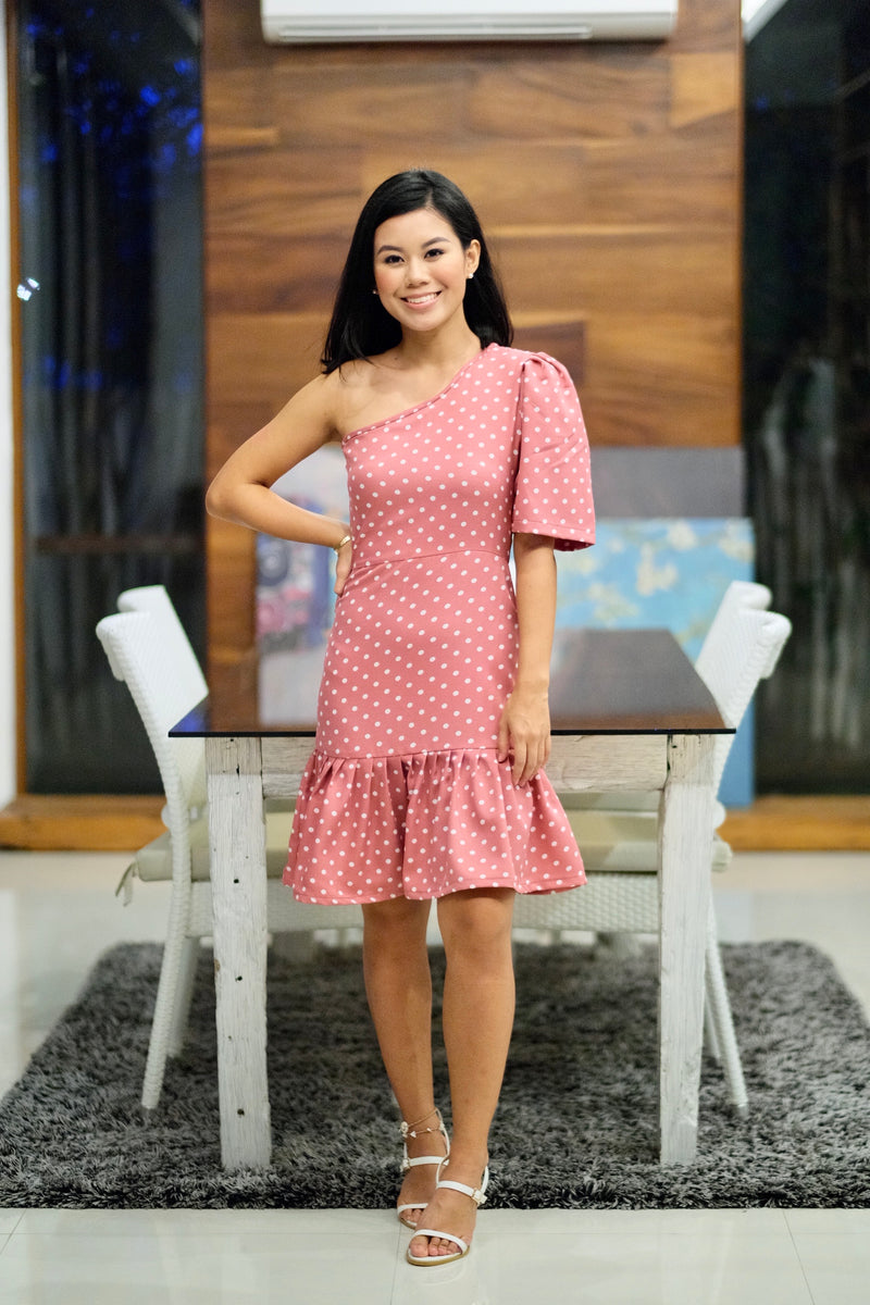 Myra Dress in Old Rose Polka Dot
