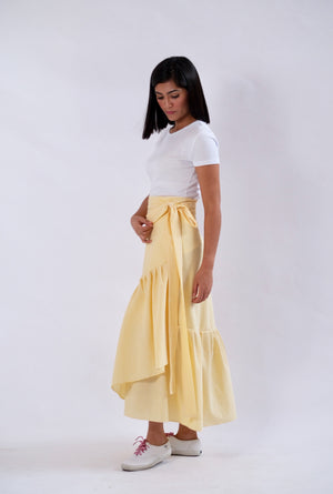 Mila Seersucker Wrap Skirt - Yellow