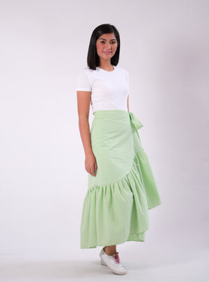 Mila Seersucker Wrap Skirt - Green