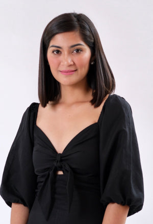 Francesca Top in Regular Length - Plain Black