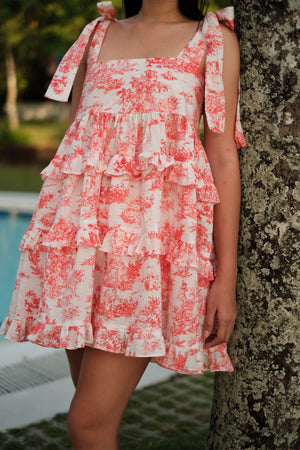 Maggie Tiered Dress in Coral Red