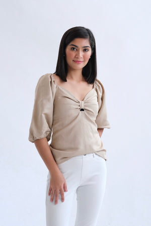 Francesca Top in Regular Length - Khaki Brown