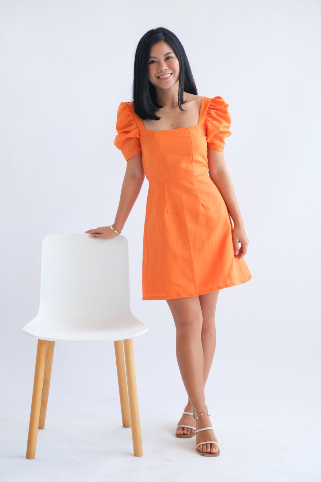 Aubrey Dress in Tangerine