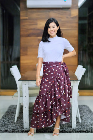 Catleya Skirt in Floral Plum