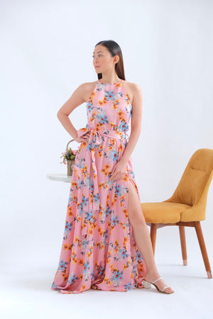 Dahlia Maxi Dress in Pink Sea