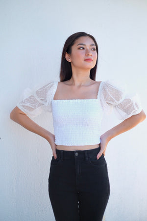 Lindsey Cropped Top in Snowfall