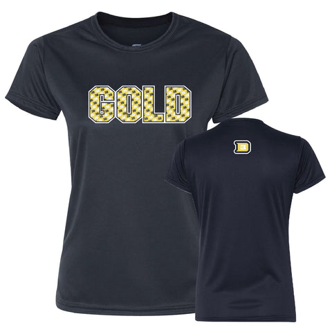 3D Gold Baseball Ladies Performance Short Sleeve