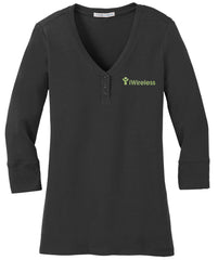 iWireless Ladies 3/4 Sleeve Scoop Henley