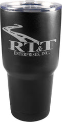 RT&T Black Travel Mug w/Clear Lid