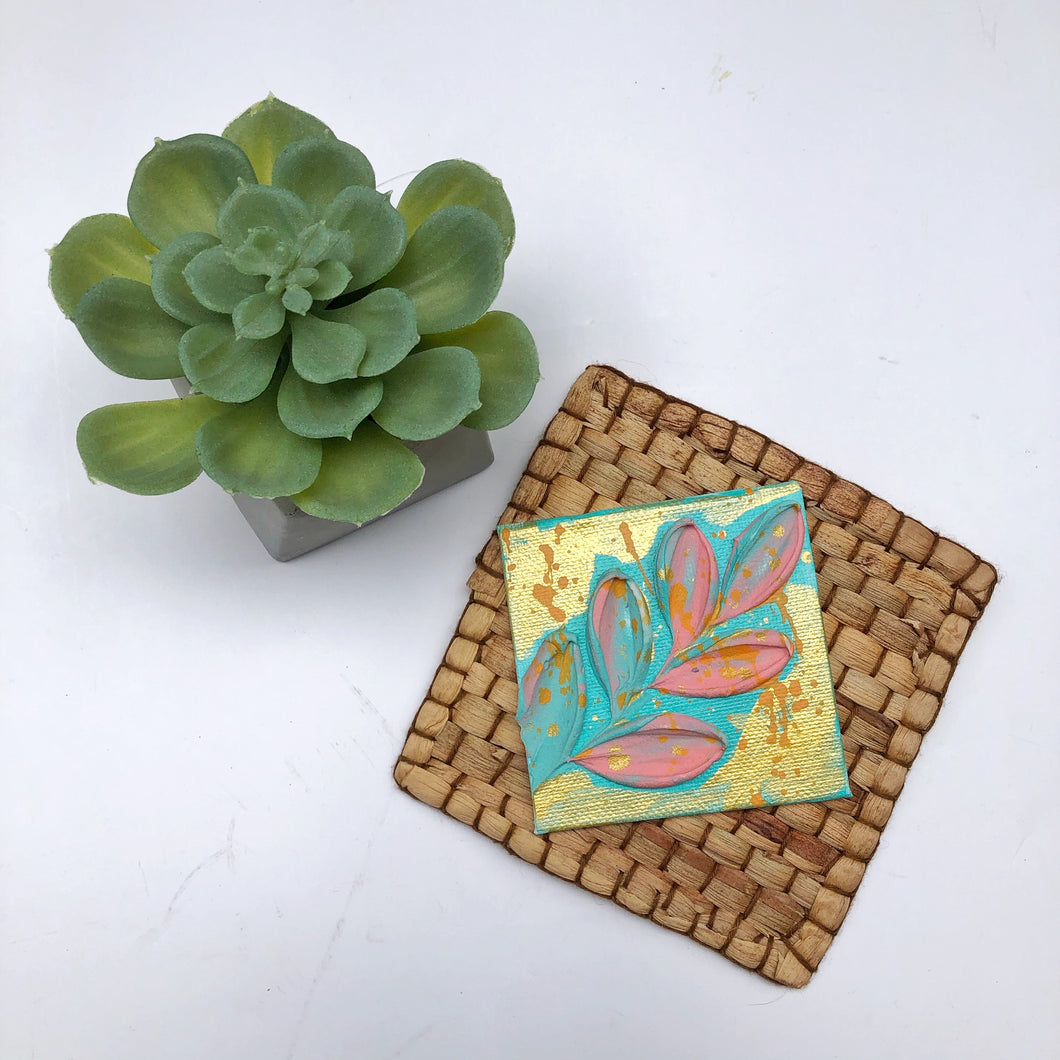 Golden Leaf with Pink magnet