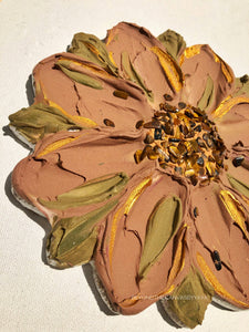 Tan and Gold Flower with Tiger Eye Crystals