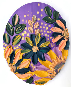 Purple and Gold Sculptured Florals