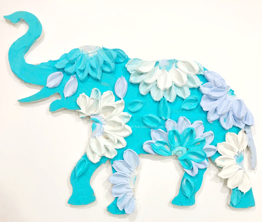 Bright blue elephant