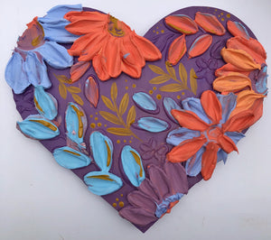 Purple and Coral Heart