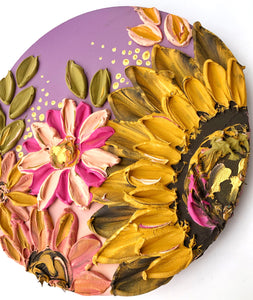 Mauve Lavender and Sunflowers with Gold Sculptured Flowers