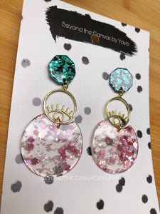 Pink and Blue Glitter  Earrings