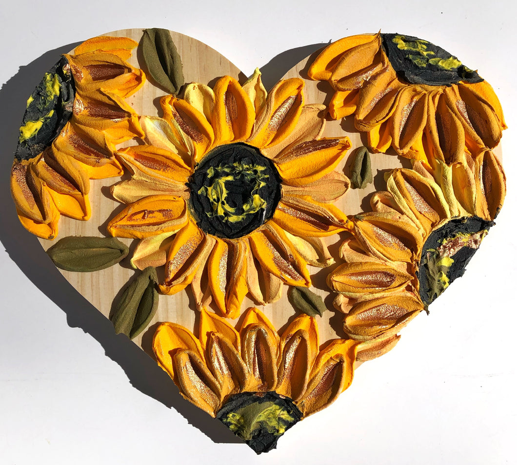Heart sunflower and gold