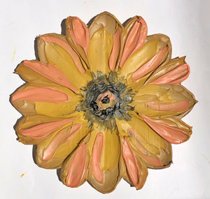 Single Textured Flower Mustard and Peach (100% Wood)