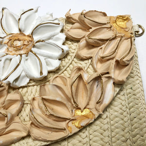 Beige and White Florals (clutch/purse)