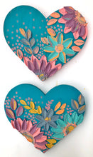 Pastels and Blue with Pink Sides Wooden heart