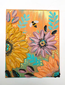 Coral and Blue Sunflowers with Bee