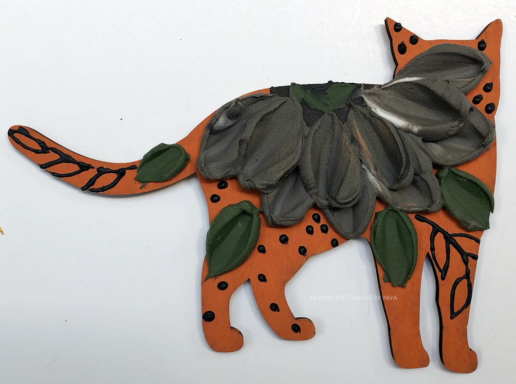 Burnt Orange and Black cat (wood)