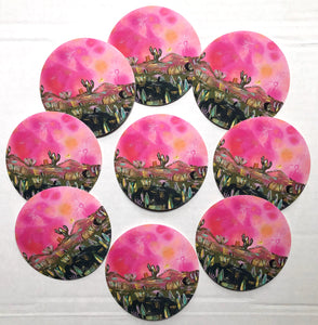 Pink moon Sticker