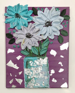 Purple with blue and silver vase