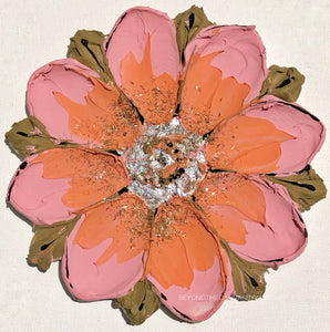 Pink and Orange Flower with Silver