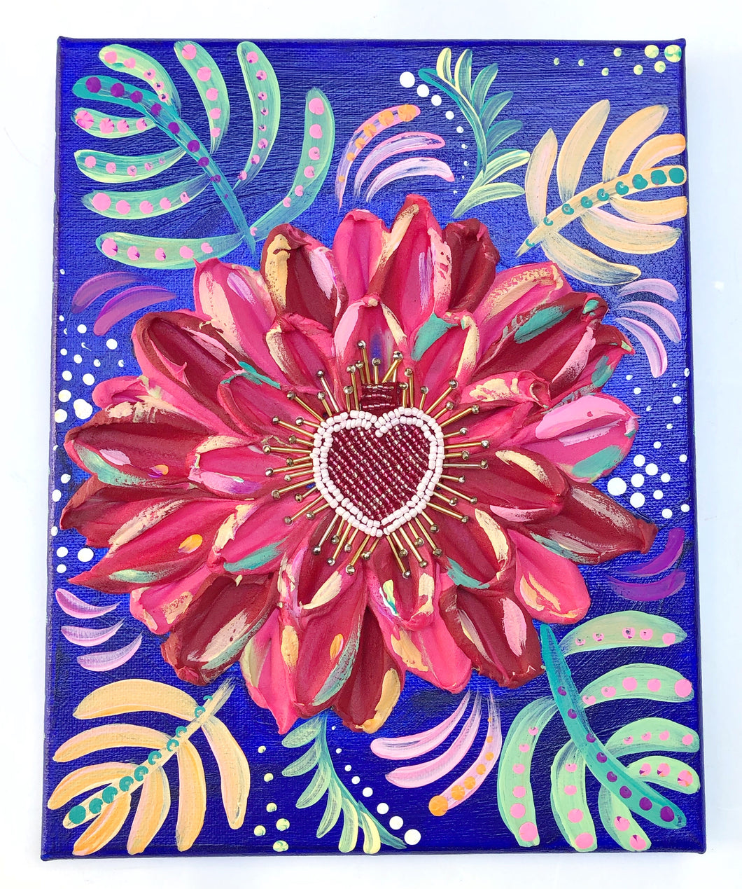 Colorful Frida Flower with beaded heart
