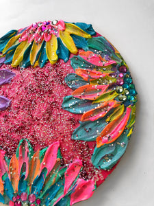 So Extra Glitter Sculptured Floral Painting