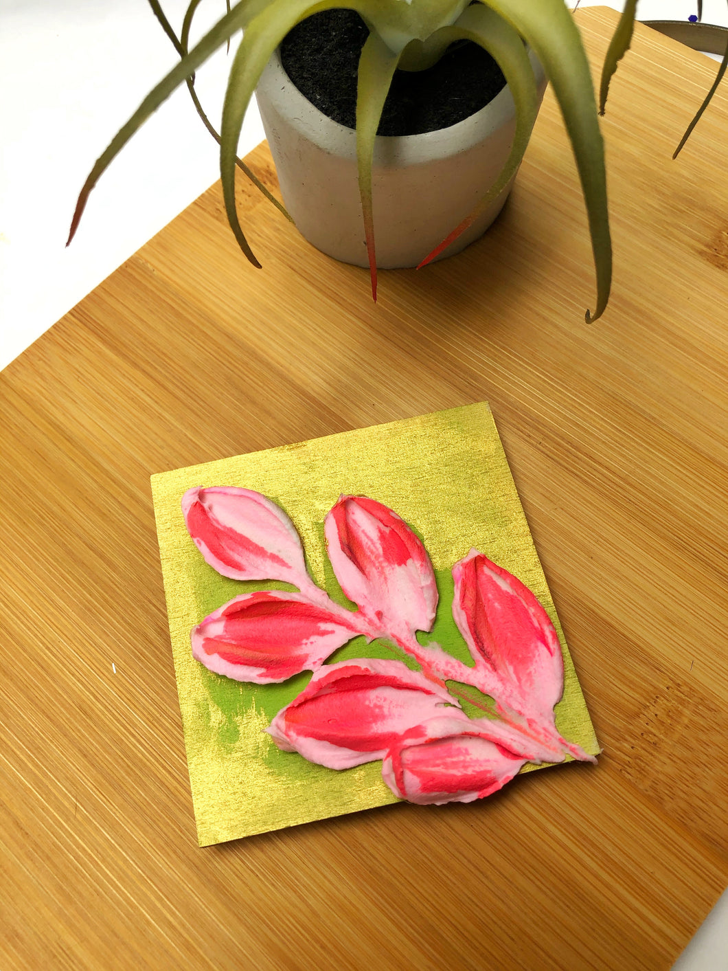 Pink and Green with gold magnet